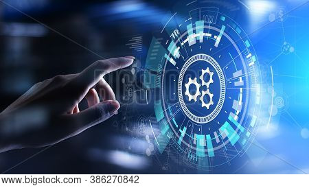 Automation, Business And Industrial Process Workflow Optimisation, Software Development Concept On V