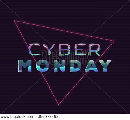 Cyber Monday Glitch Sign With Distorted Letters. Retro Style Back To Eighties Style Banner. Glitch E