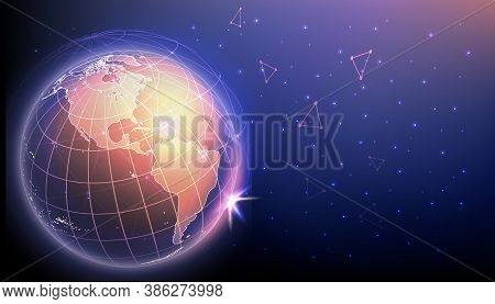 High Tech Innovations And Cyber Connections Concept. Planet Earth Surrounded By Polygonal Mesh Repre