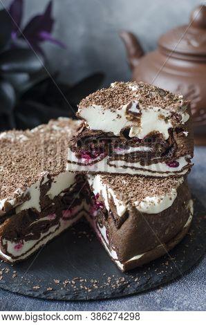 Pancake Cake With Cream Cheese And Cherries