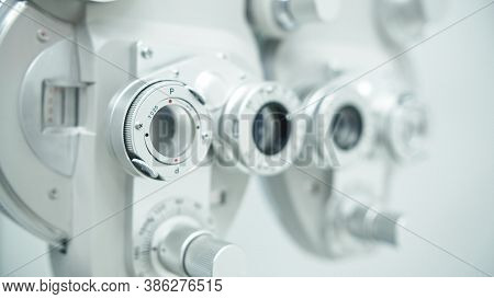 Autorefractor At Optometrist Clinic. Shallow Depth Of Field. High Quality Photo