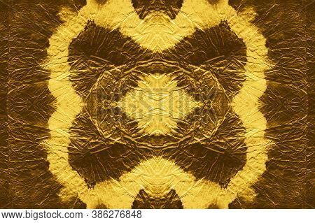 Metallic Watercolor Seamless Texture. Abstract Metal Illustration. Yellow Luxury Shine Ethnic Orname