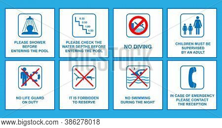 Rules Set For Swimming Pool, Conceptual Vector