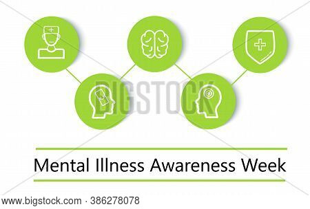 Mental Illness Awareness Week Concept Vector In Green Color. Professional Psychology Consultation Il