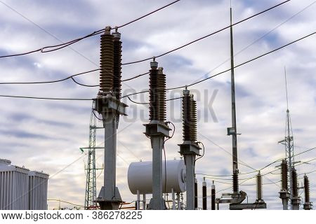 High Voltage Cables.power Station Overcast Cloudy Day.power Wires Autumn Day.electric Transformers.e