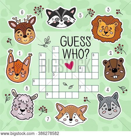 Educational Game For Children. Crossword Puzzle Game For Preschool Kids Activity. Guess Who. Workshe