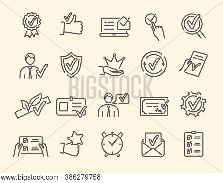 Approval, Endorsement, Acceptance, Approvement Concept. Vector Set Of Linear Icons Related To Accred
