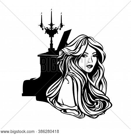 Beautiful Woman With Long Hair And Piano With Candle Stick - Vintage Style Musician Lady Portrait