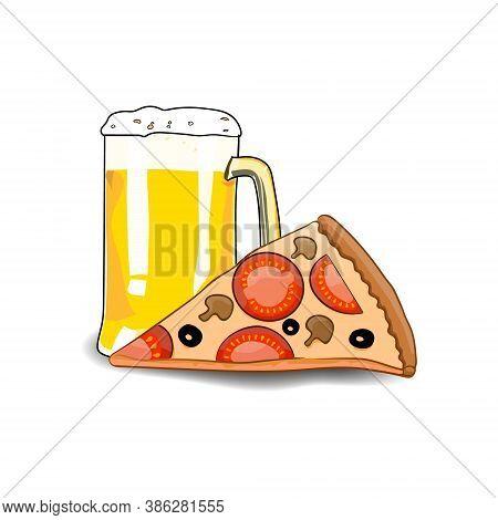 Mug Of Beer And Pizza Slice. Design Element Beer And Pizza. Cartoon Style Beer And Pizza. Hand Drawi