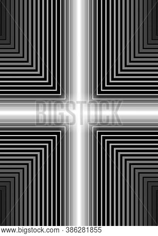 Vertical Rectangular Shape. White Cross Lines Neon Glow. Right Angle White Gradient To Black. Templa