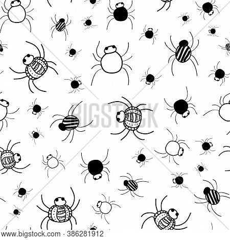 Crawly Spiders Pattern In Black And White Seamless Vector Repeat Surface Design Halloween Doodle Sty