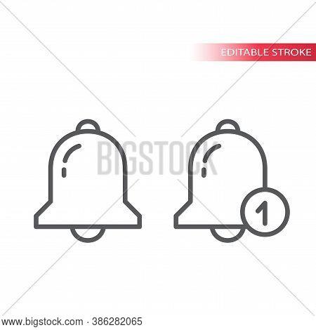 Notification Bell Thin Line Vector Icon. Doorbell Outline Symbol, Editable Stroke.