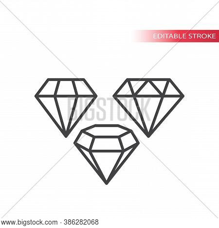 Diamond Shape Line Vector Icon Set. Diamonds Jewel Stones Outline Icons, Editable Stroke.
