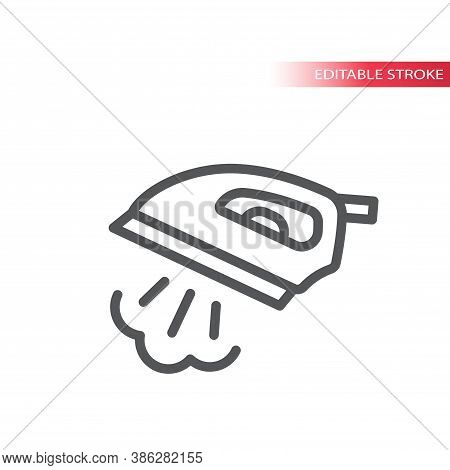 Iron With Steam Thin Line Vector Icon. Ironing Service Outline Symbol, Editable Stroke.