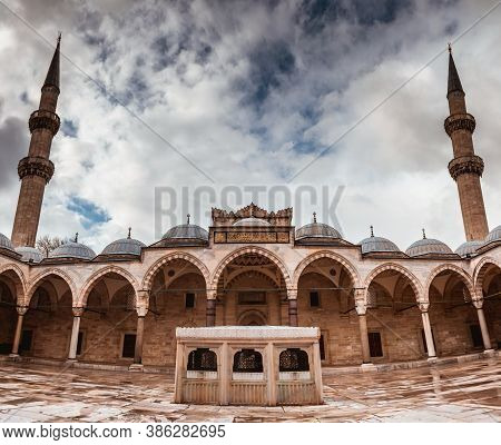 Suleymaniye Mosque In Istanbul, Turkey. Suleymaniye Mosque Is Famous Landmark. Islamic Architecture