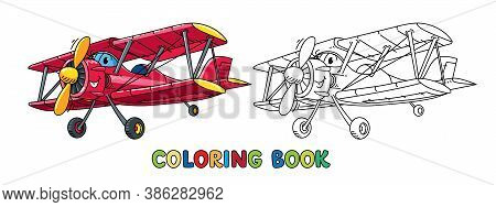 Funny Biplane With Eyes. Airplane Coloring Book