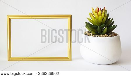 Gold Frame Mockup With Small Cactus. Frame Mockup. White Frame Mockup.