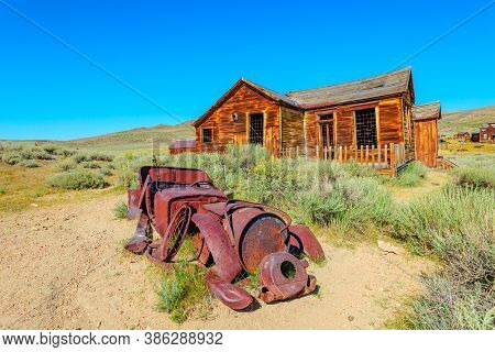 Rusty Wreck Of The Vintage Old Car, In Bodie State Historic Park, Californian Ghost Town. The United