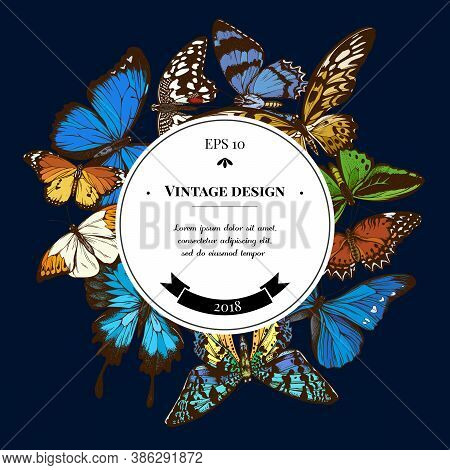 Badge Over Design With Red Lacewing, African Giant Swallowtail, Alcides Agathyrsus, Common Green Bir