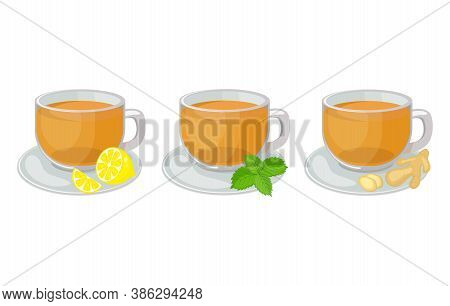 Set Of Glass Cups  With Saucers  With Herbal  Tea Inside And Lemon Slice, Mint, Ginger  Vector Illus