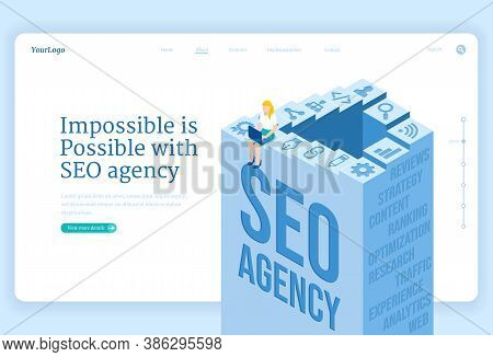 Seo Agency Service Isometric Landing Page. Search Engine Optimization Technology For Internet Market