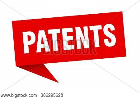 Patents Banner. Patents Speech Bubble. Red Sign