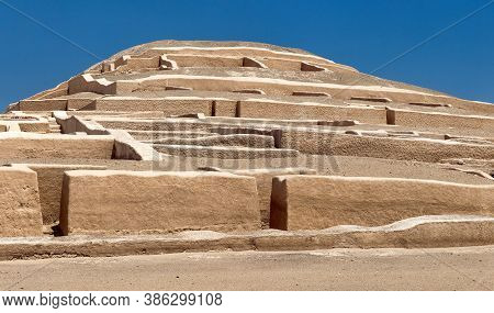 Nasca Or Nazca Pyramid At Chahuachi Archeological Site In The Nazca Desert Of Peru, Panoramic View