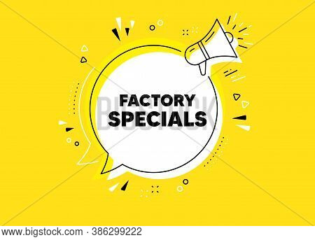 Factory Specials. Megaphone Yellow Vector Banner. Sale Offer Price Sign. Advertising Discounts Symbo