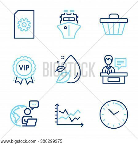 Line Icons Set. Included Icon As Water Drop, File Management, Time Signs. Shop Cart, Ship, Diagram C