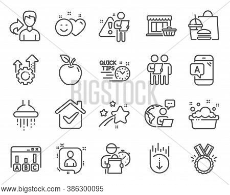 Business Icons Set. Included Icon As Hand Washing, Survey, Scroll Down Signs. Seo Gear, Share, Showe