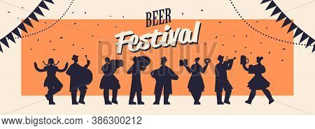 People Silhouettes Holding Mugs And Playing Musical Instruments Celebrating Beer Festival Oktoberfes