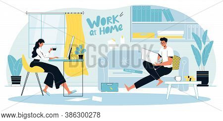 Man Woman Family Couple Enjoy Remote Work, Business Training Course At Home Office Workplace Landing