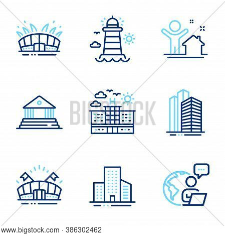 Buildings Icons Set. Included Icon As New House, Lighthouse, Skyscraper Buildings Signs. Sports Aren