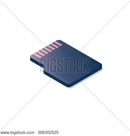 Isometric Flash Memory Card. Vector Illustration. A Memory Cartridge. Electronic Data Storage Device