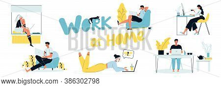 Work At Home. Young People, Man Woman Sitting At Computer Laptop Making Money On Internet Without Le
