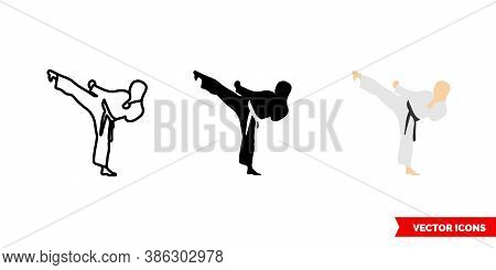 Karate Icon Of 3 Types Color, Black And White, Outline. Isolated Vector Sign Symbol.
