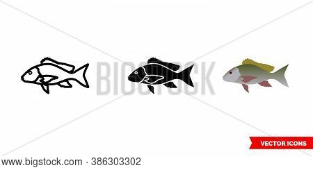 Lane Snapper Fish Icon Of 3 Types Color, Black And White, Outline. Isolated Vector Sign Symbol.