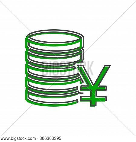 Icon Of Yen Currency. Yen Money. Symbol Of Japanese Currency Cartoon Style On White Isolated Backgro