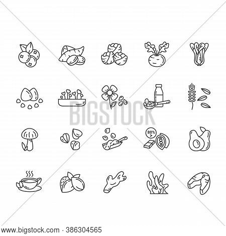 Superfoods Line Icons Set. Vegetables, Berries, Seeds, Grains, Nuts And More. Vegetarian, Organic, H