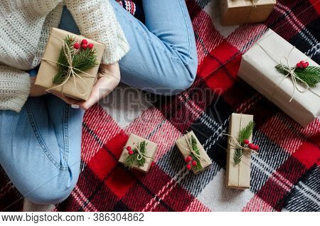 Woman Hold Christmas Or New Year Decorated Gift Box. Merry Christmas Concept. Seasonal Greetings Car