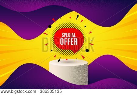 Special Offer Sticker. Background With Podium Platform. Discount Banner Shape. Sale Coupon Bubble Ic