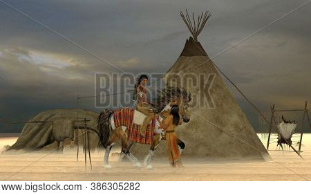 Indian Windrider 3d Illustration - An American Indian Brave Rides Out To Find Game For His Family On