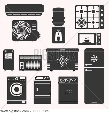 Major Home Appliences Set, Such As Stove, Fridge, Freezer, Water Cooler, Microwave, Air Conditioning