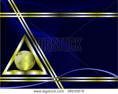 A blue and gold business card template with a gold globe inside a triangle and room for text