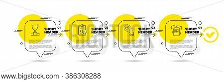 Checklist, Checkbox And Winner Podium Line Icons Set. Timeline Infograph Speech Bubble. Documents Si