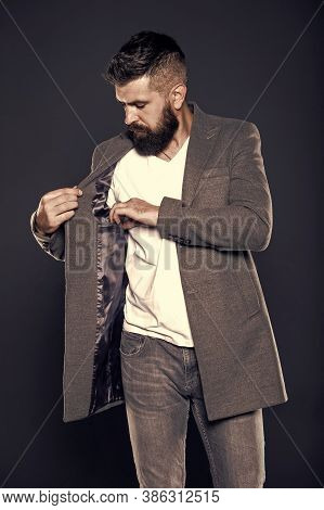Pocket Inside Coat. Serious Concentrated Man. Caucasian Man With Brutal Appearance. Bearded Man With
