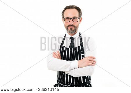 Kitchen Boss. Copy Space. Mature Male Cook Isolated On White. Catering Business. Bearded Man Baker I