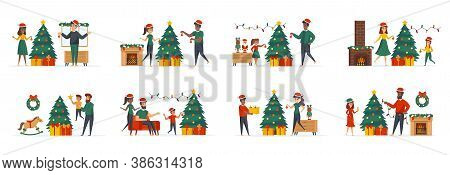 Christmas Tree Decoration Bundle Of Scenes With People Characters. Happy Family With Kids Together D