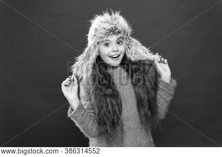 Just Glad. Caring Fur Garments. Soft Furry Accessory. Child Long Hair Soft Hat Enjoy Softness. Winte