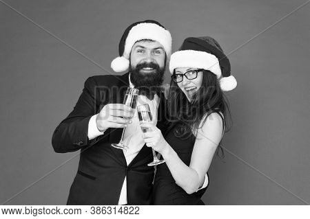 Get Into Festive Holiday Mood. Couple In Love Toasting. Tasty Holiday Drink To Up Party. Happy Famil